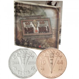 2004 Canada Sterling Silver 5 Cent Coin, Medallion & CD-ROM Gift Set - D-Day