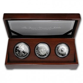 2012 (1952-) Australia, Canada, Great Britain Royal Silver 3-Coin Set - The Queen's Diamond Jubilee