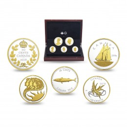 2018 Canadian Legacy of the Dime - Fine Silver & Gold-plated 5-Coin Set