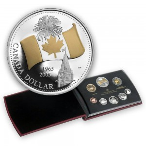 2005 Canada Proof Double Dollar Set - 40th Anniversary of Canada's National Flag- coins may be lightly toned