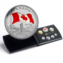 2015 Canada Proof Fine Silver Double Dollar Set - 50th Anniversary of the Canadian Flag (Deluxe)