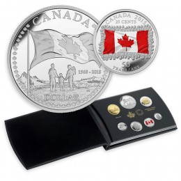 2015 Canada Special Edition Proof Fine Silver Double Dollar Set - 50th Anniversary of the Canadian Flag