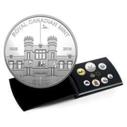 2018 Canadian 6-Coin Coloured Circulation Silver Proof Coin Set ft 2018 (1908-) Mint 110th Anniv Medallion