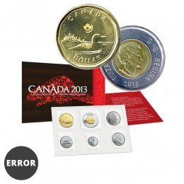 2013 Canada Uncirculated Proof-Like Set / ERROR Double Stamped Loonie, Toonie