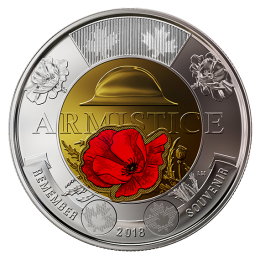 2018 Canadian $2 Armistice 100th Anniv Remembrance Coloured Poppy Toonie Coin (Brilliant Uncirculated)