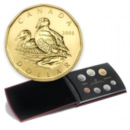 2008 Canadian Specimen 7-Coin Collector Set ft $1 Common Eider Loonie Dollar
