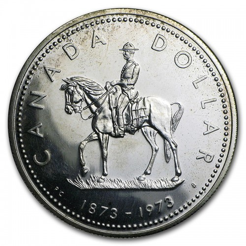 1973 (1873-) Canadian $1 (RCMP) Royal Canadian Mounted Police Centennial Specimen Silver Dollar Coin