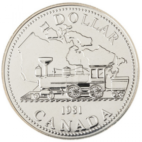 1981 Canadian $1 Trans-Canada Railway Centennial Brilliant Uncirculated Silver Dollar Coin