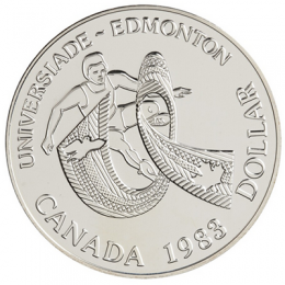 1983 Canada Brilliant Uncirculated Silver Dollar - Canada World University Games