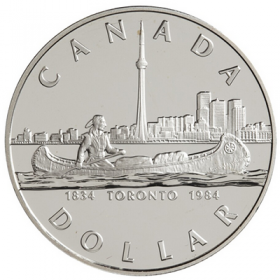 1984 (1834-) Canadian $1 City of Toronto 150th Anniv Proof Silver Dollar Coin