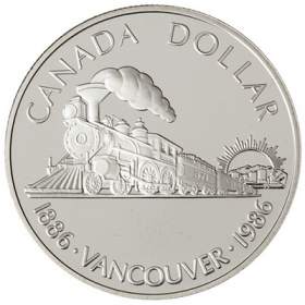 1986 (1886-) Canadian $1 Transcontinental Railroad/Vancouver Centennial Proof Silver Dollar Coin