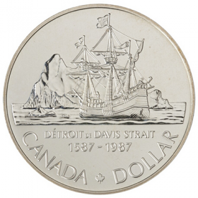 1987 Canada Brilliant Uncirculated Silver Dollar - 400th Anniversary of John Davis Exploration