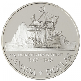 1987 Canada Proof Silver Dollar - 400th Anniversary of John Davis Exploration