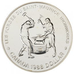 1988 Canada Brilliant Uncirculated Silver Dollar - Saint-Maurice Ironworks