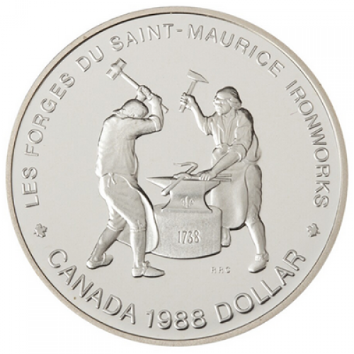 1988 Canadian $1 Saint-Maurice Ironworks Quebec 250th Anniv Proof Silver Dollar Coin