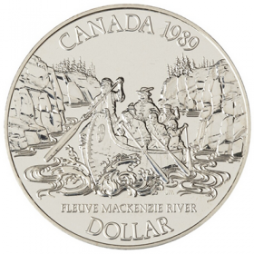 1989 Canada Brilliant Uncirculated Silver Dollar - Mackenzie River Bicentennial