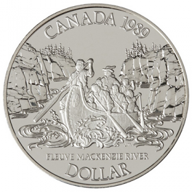 1989 Canadian $1 Mackenzie River 200th Anniv Proof Silver Dollar Coin