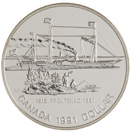 1991 Canada Brilliant Uncirculated Silver Dollar - 175th Anniversary of the Frontenac