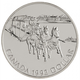 1992 Canada Brilliant Uncirculated Silver Dollar - Kingston to York Stagecoach