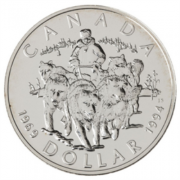 1994 Canada Brilliant Uncirculated Silver Dollar - R.C.M.P. Northern Dog Team Patrol