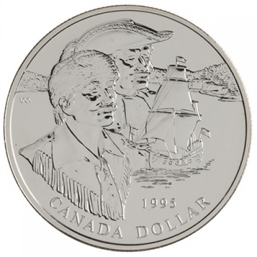 1995 Canadian $1 Hudson's Bay Company 325th Anniv Brilliant Uncirculated Silver Dollar Coin