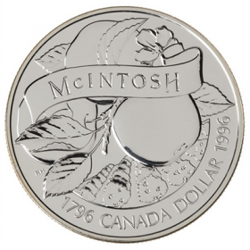 1996 (1796-) Canadian $1 McIntosh Apple 200th Anniv Brilliant Uncirculated Silver Dollar Coin