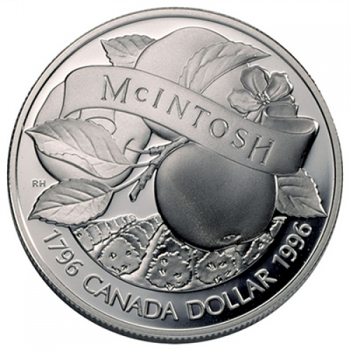1996 (1796-) Canadian $1 McIntosh Apple 200th Anniv Proof Silver Dollar Coin