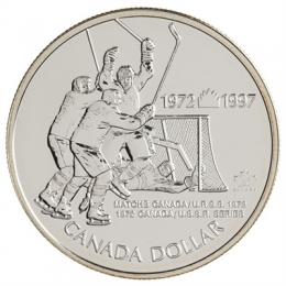 1997 Canada Brilliant Uncirculated Silver Dollar - 25th Anniversary 1972 Canada vs Russia Hockey Series