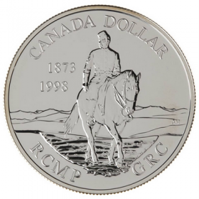 1998 (1873-) Canadian $1 RCMP 125th Anniversary Brilliant Uncirculated Sterling Silver Dollar Coin