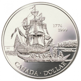 1999 (1774-) Canadian $1 Voyage of Juan Perez, 225th Anniv Brilliant Uncirculated Silver Dollar Coin