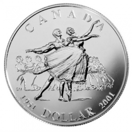 2001 Canadian $1 National Ballet of Canada 50th Anniv Brilliant Uncirculated Silver Dollar Coin