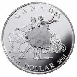 2001 Canadian $1 National Ballet of Canada 50th Anniv Proof Silver Dollar Coin