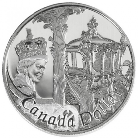 2002 (1952-) Canadian $1 Queen's Golden Jubilee 50th Anniv Proof Sterling Silver Dollar Coin