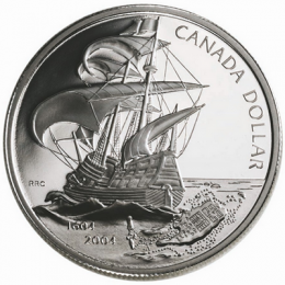 2004 Canada Proof Fine Silver Dollar - 400th Anniversary of the First French Settlement in North America