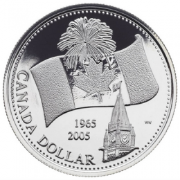 2005 Canada Brilliant Uncirculated Fine Silver Dollar - 40th Anniversary of Canada's National Flag