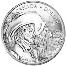 2008 Canada Brilliant Uncirculated Silver Dollar - 400th Anniversary of Quebec City