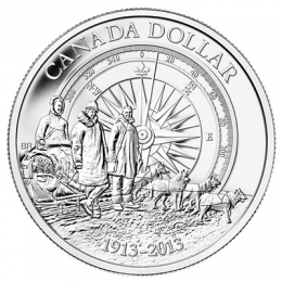 2013 (1913-) Canadian $1 Arctic Expedition 100th Anniversary Brilliant Uncirculated Silver Dollar Coin