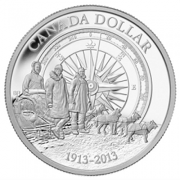 2013 Canada Proof Fine Silver Dollar - 100th Anniversary of the Canadian Arctic Expedition