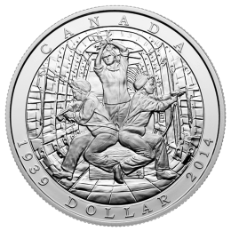 2014 (1939-) Canadian $1 Declaration of the Second World War 75th Anniv Proof Silver Dollar Coin (Limited Edition)