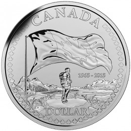 2015 Canada Brilliant Uncirculated Fine Silver Dollar - 50th Anniversary of the Canadian Flag