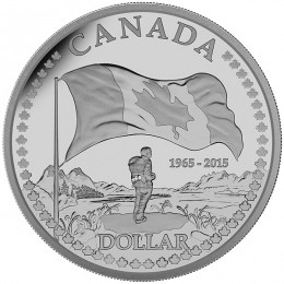 2015 Canadian $1 50th Anniversary of the Canadian Flag Proof Silver Dollar Coin