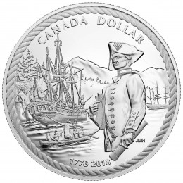 2018 Canadian Proof $1 240th Anniversary of Captain Cook at Nootka Sound - Fine Silver Dollar Coin