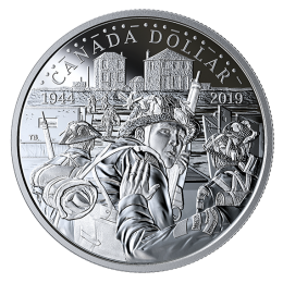 2019 Canadian $1 75th Anniversary of D-Day Proof Silver Dollar Coin