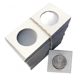 2x2 Cardboard Flip Coin Holders for Halves (50 Cents), Loonies, Toonies - 31 mm, Staple-type (100ct)