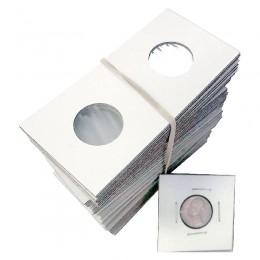 2x2 Cardboard Flip Coin Holders for Nickels (5 Cents) - 22 mm, Staple-type (100ct)