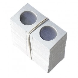 1.5x1.5 Mini Cardboard Flip Coin Holders for Quarters (25 Cents) - 24 mm, Staple-type (100ct)