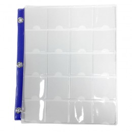 20-Pocket Vinyl Coin Binder Page with Thumb Slot & Metal Eyelets (8.5x11, Blue Strip)