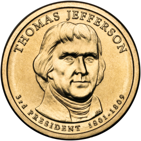 2007-D American $1 Presidential Series: Thomas Jefferson Brilliant Uncirculated Coin