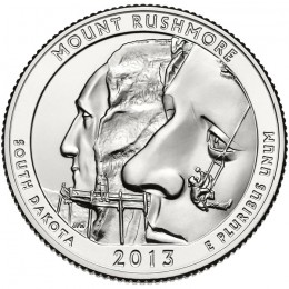 2013-P American 25-Cent National Parks: Mount Rushmore National Memorial Brilliant Uncirculated Coin