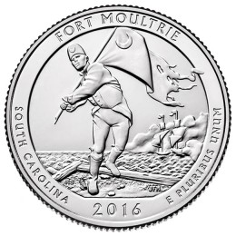 2016-P American 25-Cent National Parks: Fort Moultrie (Fort Sumter National Monument) Brilliant Uncirculated Coin